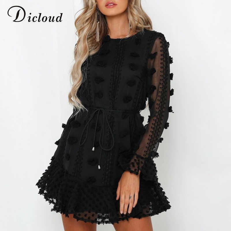 DICLOUD Сексуальные черные помпоны женские вечерние платья 2019 Осень с длинным рукавом с оборками из линии с талией