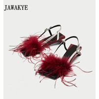 JAWAKYE Strange Low Kitten Heels Fur Sandals Women patchwork red black Buckle Feather Shoes Sandals Summer Sexy Beach Shoes