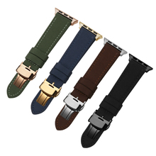 Quality nylon and genuine leather watchbands black brown leather strap for apple watch 3/2/1 38mm 42mm replacement wristband