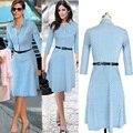 Горячая 2017 лето dress Гольфы three quarte Dot dress поставить на большой высокого класса Небесно-голубой и белая точка dress