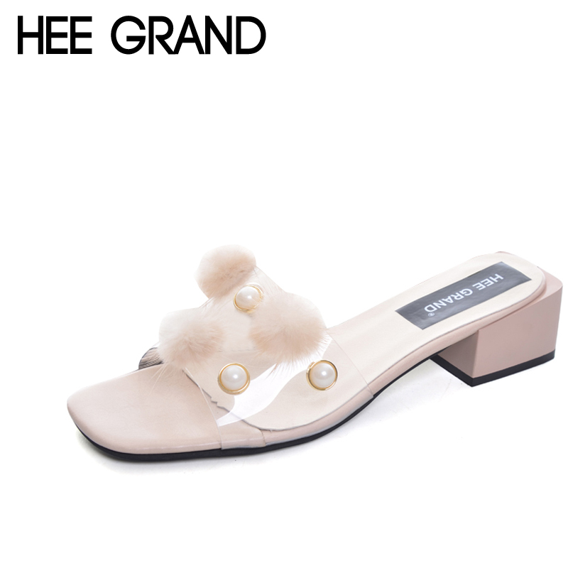 HEE GRAND Pom Pom Pearl Slippers 2017 Summer Slides Casual Square heel Shoes Woman Outside Slip On Fashion shoes  XWT831 summer men real leather casual slip on hollow out loafer mules open back slippers slides shoes