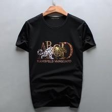 Новая мужская повседневная футболка с коротким рукавом с леопардовым принтом, мужская летняя одежда