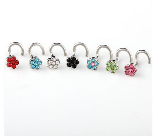 Nose-Studs Hoop Jewelry Body-Piercing Titanium Flower Fake-Septum Medical Women Clip