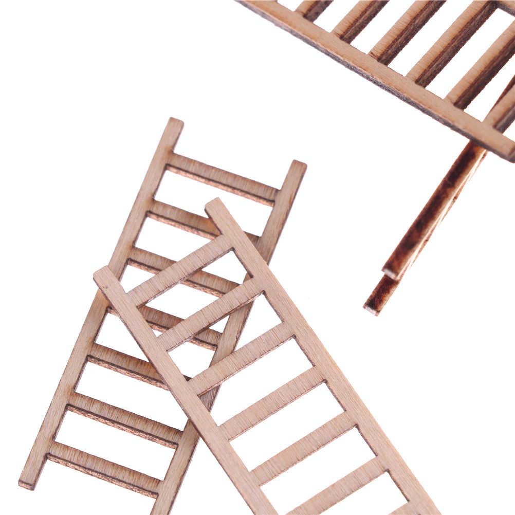 4 adet 1:12 minyatür ahşap portatif merdiven ile Platform katlanır Dollhouse mobilya aksesuarları