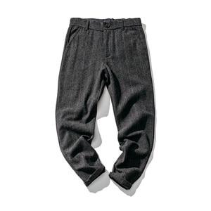 Image 2 - Мужские Винтажные брюки в британском стиле, клетчатые шерстяные брюки, облегающие плотные теплые шерстяные повседневные брюки, A5096