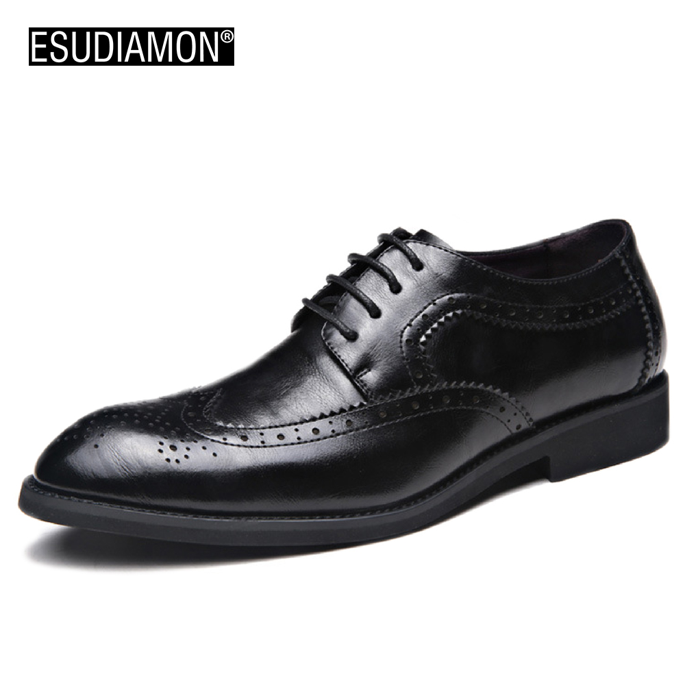 ESUDIAMON NEW Leather Men Dress Shoes Breathable Business Bullock Oxford Shoes British Wedding Black Lace Up Shoes Fashion Brand new brand black white vintage women footwear lace up casual oxford flat shoes woman british style breathable zapatos mujer