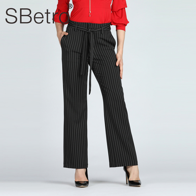SBetro Ladies Striped Wide Leg Pants Office Lady Black Work Elastic Waist Belted Bow Loose Long Trousers Mid Waist Pant Summer