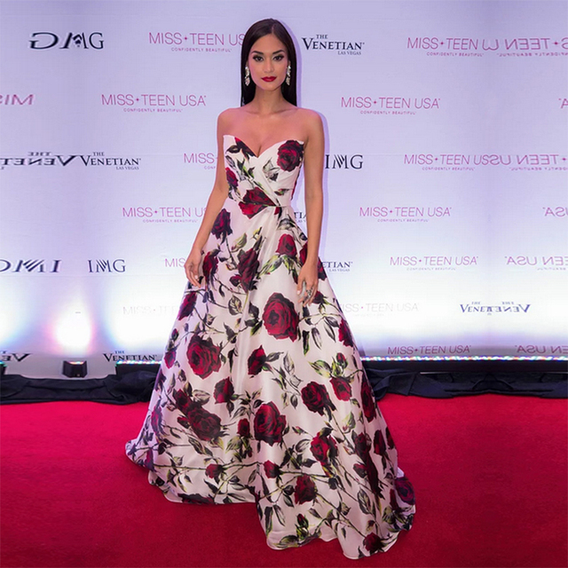 Miss World Red Carpet Dresses 2017 Sweetheart Fl Printed Long Evening Gowns Custom Made Formal Women