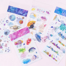 2pc/bag, Ink And Paper Sticker Plant Gems Planet Earth Elk World Rainbow/students Stationery Diy Decorative Diary Scrapbook Gift