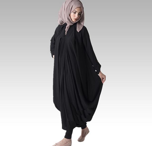 Black abaya long sleeve, muslim abaya jilbab islamic clothing for women
