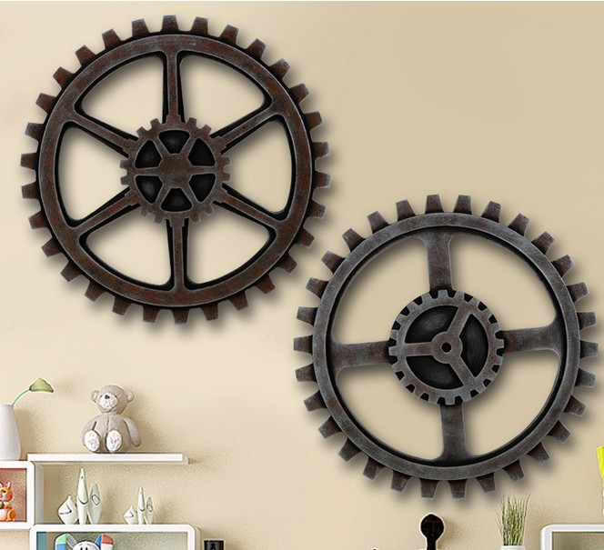 1PC Home Furnishing Wall Mural Decoration Hangings Clothing Store Bar Background Gear Wooden Ornaments JL 107