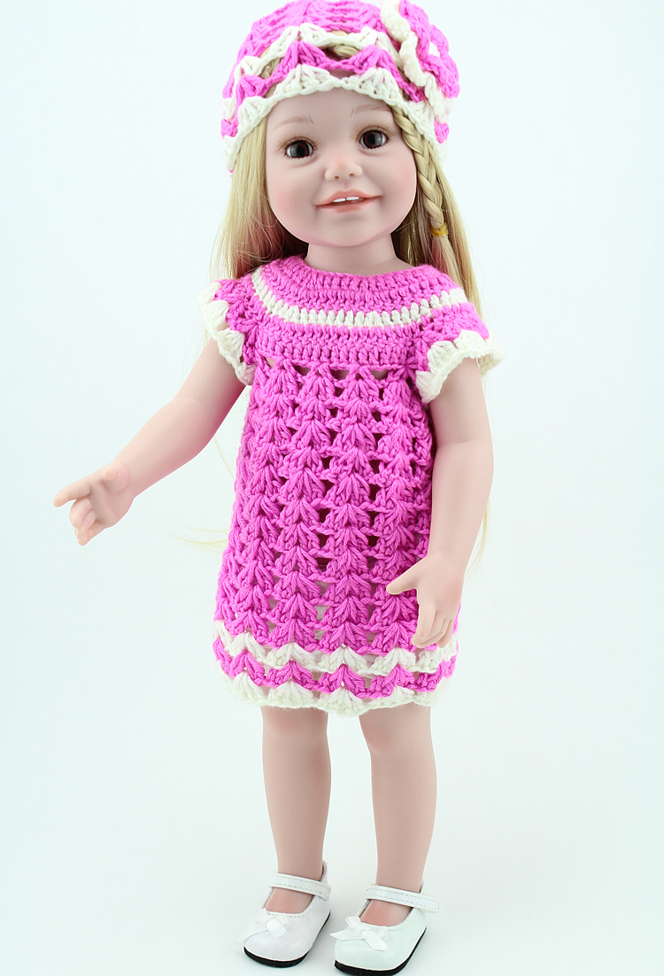 18 inch Princess Girl Doll Similar As American Girl Blond Hair Toys Handmade Crochet Dress Clothes american girl doll clothes white wedding 18 inch doll clothes madame alexander handmade american girl doll clothes 4 styles d 1