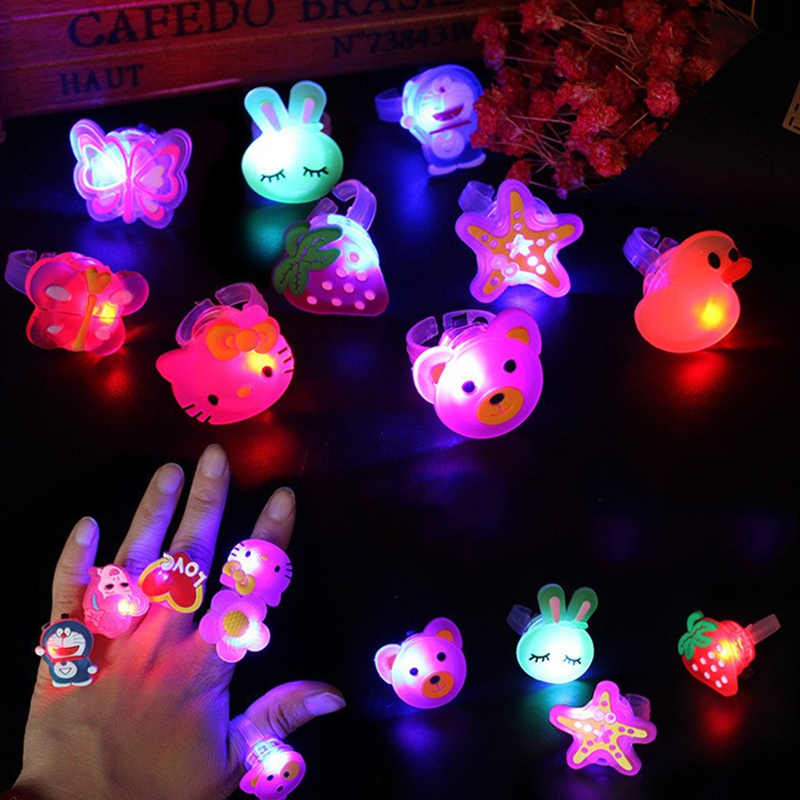 1PC/5PCS/10PCS Luminous Rings Toy for girl LED Cartoon Flash Light Glow In The Dark Toys for Children Kids Ring Playing In Night