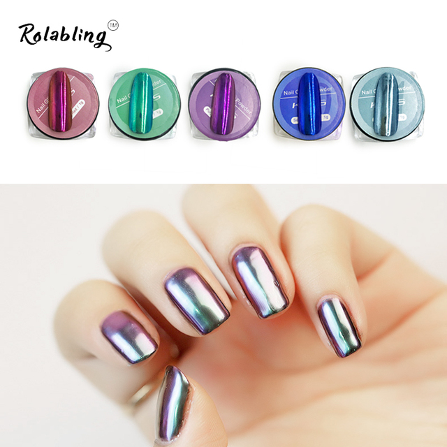 New Arrival 5pots Set Beauty Metal Colors Mirror Glitter Nail Powder Shiny Dust Diy