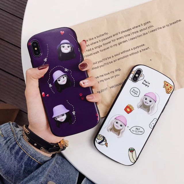 Kuutti Squishy Lovely Girls Women Purple White Emoji Cartoon Girls Round  Shockproof Phone Case for iPhone X XR XS 6 6s 7 8 Plus 89c8f4e377