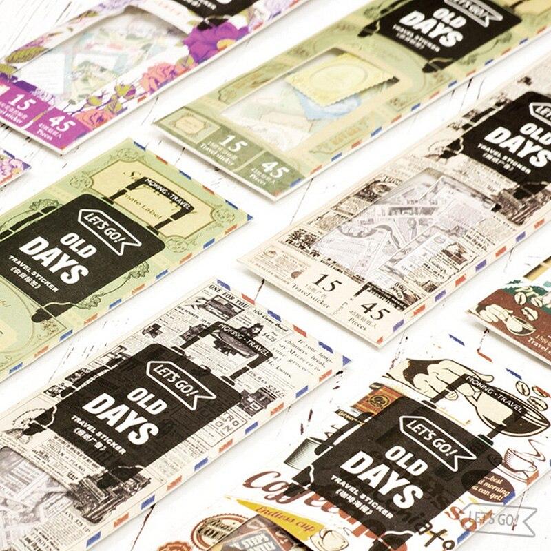 45 Pcs/Bag Vintage licence plate stamps paper sticker package DIY diary decoration sticker planner album scrapbooking kawaii 02