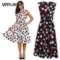 Vestlinda vintage dress chiffon mulheres casual dress impressão sem mangas a linha summer dress comprimento do joelho vestido de festa robe femme