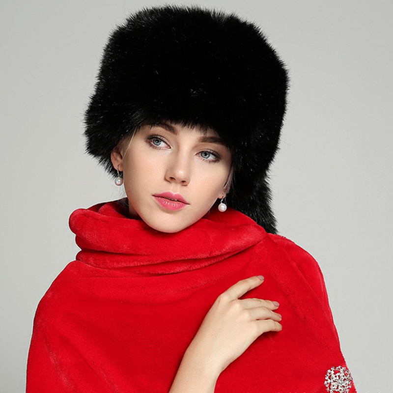 HT1480 New Fashion Women Winter Hats With Ears Western Style Faux Fur Hats Ladies Thick Warm Round Top Fur Beanie Hats