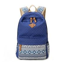 3 pcs vintage sacs d'école pour filles enfants sac toile sac à dos femmes sac à dos enfants sacs à dos dot sacs à bandoulière bleu crayon cas