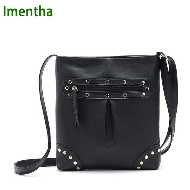 f0eeb4e3ad4d simple cheap style hot black purses and handbags small women shoulder bags  stud zipper rivet casual