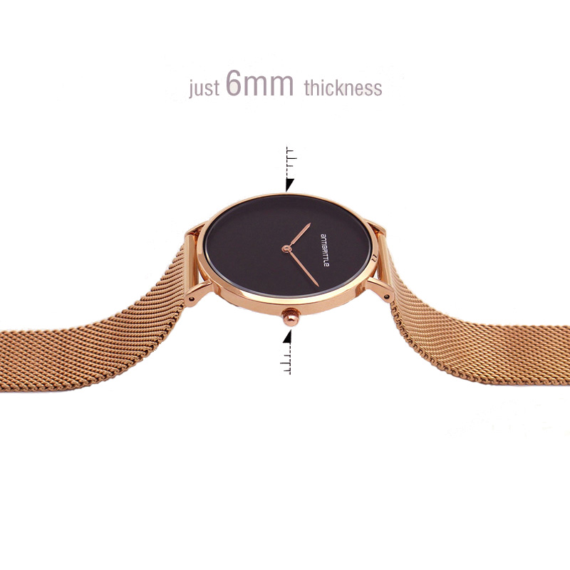 Japan Quartz Luxury Rose Gold Black Watch Women Thin Mesh Stainless Steel Magnet Band Wristwatches Waterproof Antibrittle Simple