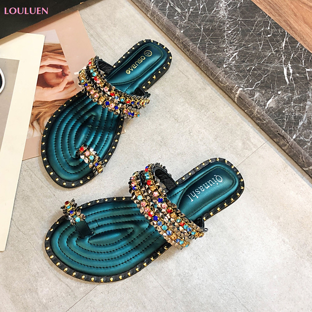 2019 Slipper Casual Shoes Slippers Women's New Women's Rhinestone Shoes Summer Flat Female Sandals Multi Size 35- 39 Drop #0429