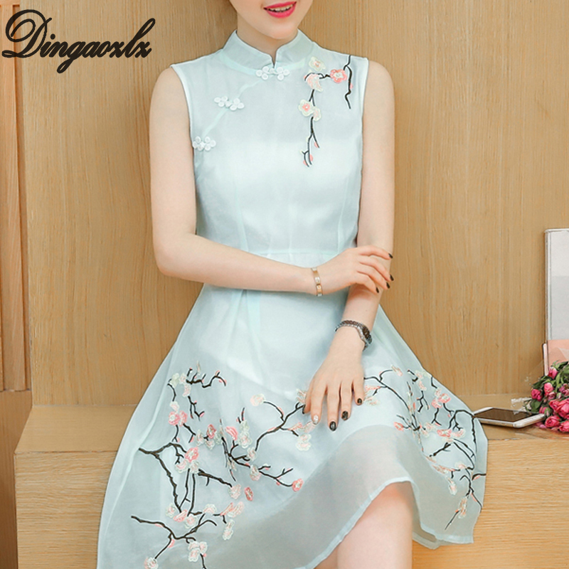 Dingaozlz Vestidos 2018 new chiffon dress embroidery stitching women dress Improved Cheongsam sleeveless casual dress