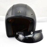 Motorcycle Helmet Support ABS Leather Retro Motorcycle Men Women Bike Sports Cafe Racer Helmet Motocross Motos