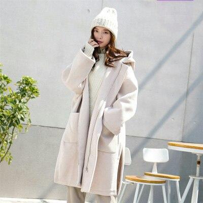 Nouveau Laine En Outwear khaki Split Femmes coat Femelle Lx224 Automne Capot apricot pink 2019 Trench Casaco Caramel Long Lâche Feminino Manteau Élégant Femme gwfqx58