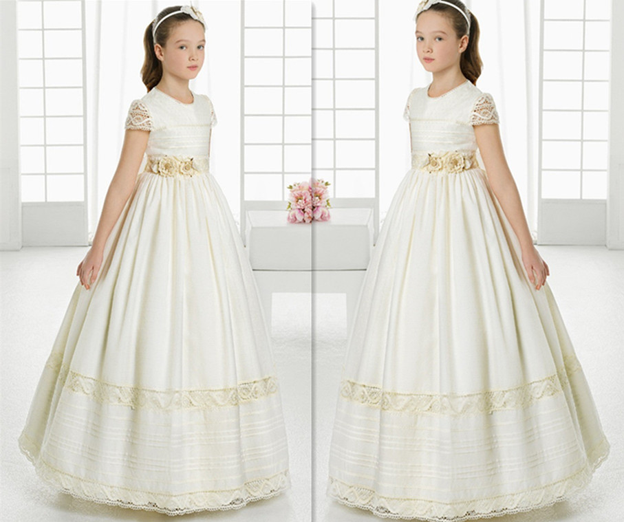 girls pageant dresses 2017 first communion dresses for girls Satin Ball Gown Lace Short Sleeve Flower Girl Dresses for weddings lovely pink ball gown short flower girl dresses 2018 beaded pearls first communion dresses for girls pageant dress