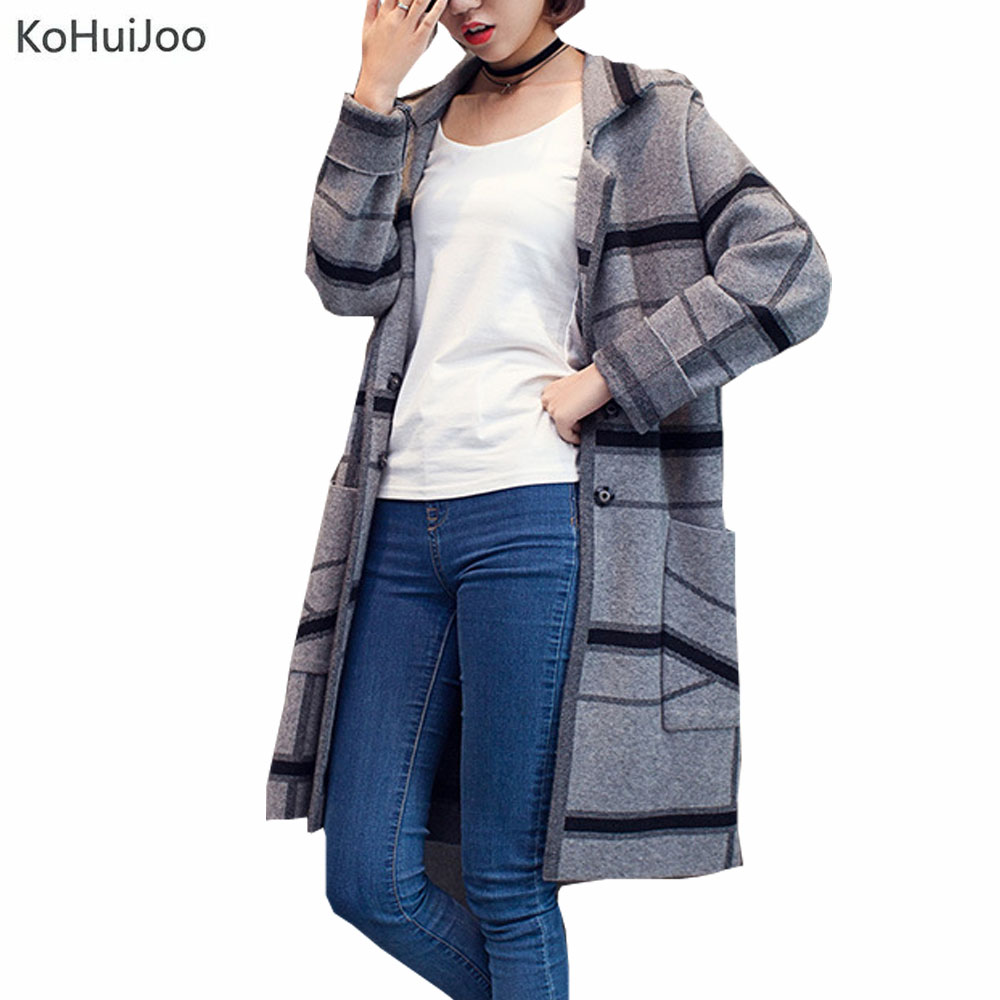KoHuIJoo Autum Winter Knitted Sweater Cardigan Women Turn Down Collar Casual Plus Size Long Plaid Cardigans Female Jacket