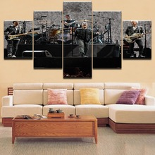 Wall Art 5 Pieces HD Printing Painting Wall Art Hard Rock Concert Type Poster Home Decorative For Modern Living Room Framework недорого