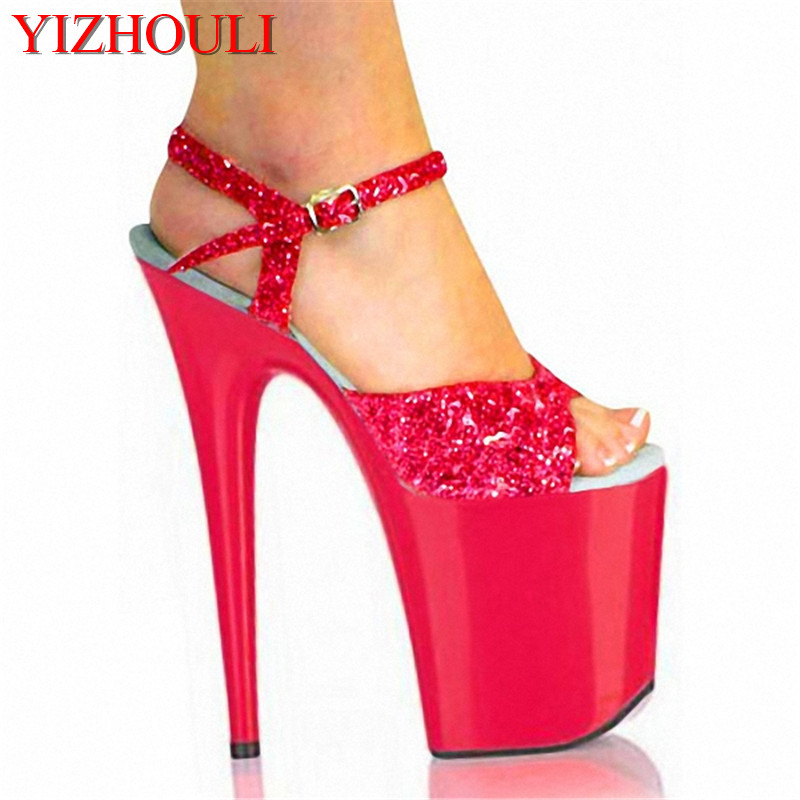 Sexy Shoes 8 inch Pointed High Heels Open Toe Womens Shoes 20CM Ultra High-Heeled Sandals Platform Dance glitter Wedding Shoes 20cm pole dancing sexy ultra high knee high boots with pure color sexy dancer high heeled lap dancing shoes