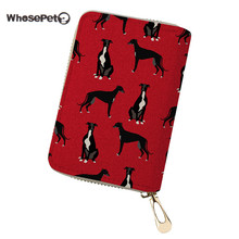 WHOSEPET PU Leather ID Card Holder Women Card Wallet Coin Purse Greyhound Black Pet Printed Travel Credit Card Holder Clutch Bag