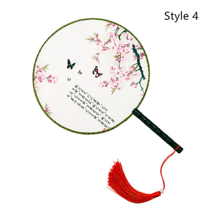 Image 4 - 中国和風女性ラウンドファン古典舞踊ファンハンドヘルド円形ヴィンテージファンタッセルペンダント