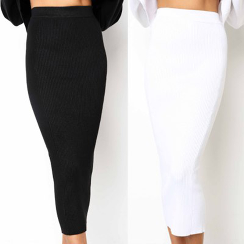 Bigsweety Women Knitted Bodycon Long Skirt Fashion Sexy Black White High Waist Pencil Skirts Female Elastic Skirts Club Wear