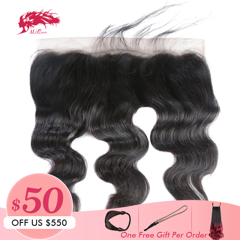 Ali Queen 13x6 Pre Plucked Hair Line Lace Frontal Brazilian Virgin Hair Body Wave Natural Color