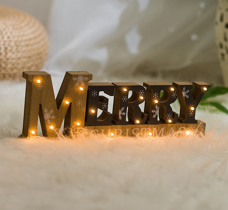 Merry Christmas LED letter lights wooden decorations shine luminous lights Ornaments Festival Party Furnishing articles health
