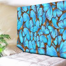 3D Blue Butterfly Print Tapestry Home Decor Wall Hanging Hippie Boho Wall Carpets Couch Blanket Microfiber Bedding Flat Sheet butterfly print home decor wall hanging tapestry