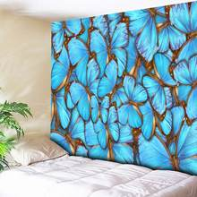 3D Blue Butterfly Print Tapestry Home Decor Wall Hanging Hippie Boho Wall Carpets Couch Blanket Microfiber Bedding Flat Sheet(China)