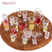 15pcs/lot 1:12 Scale plate cup dish bowl tableware set Dollhouse Miniature Toy Doll Food Kitchen living room Accessories(China)