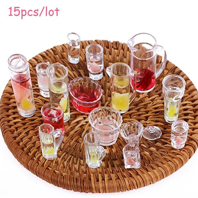 15pcs/lot plate cup dish bowl tableware set Dollhouse Miniature Toy Doll Food Kitchen living room Accessories 1:12 Scale