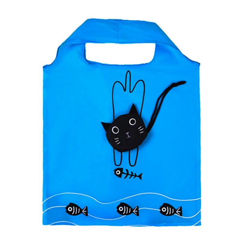 New Cartoon Shopping Tote Cute Cat Animals Folding Useful Nylon Foldable Eco Bag Reusable Shopping Bags exquisite cartoon cat pattern folding umbrella
