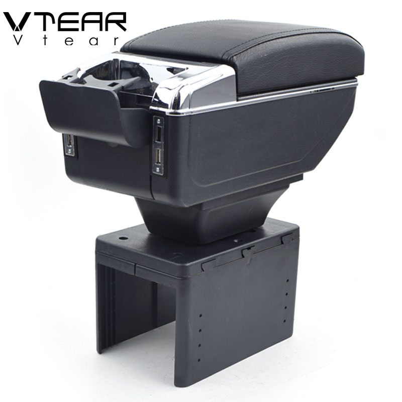 Vtear For kia spectra armrest box USB Charging heighten Double layer central Store content cup holder