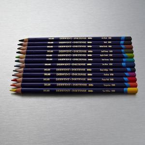 Image 3 - 12 pièces/lot dergone Inktense 12 crayons etain ensemble crayon Soluble pour peinture rotule