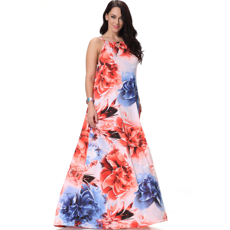 a09b645b17 Plus Size Summer Dress Elegant Floral Print Maxi Dresses Women Beach Party  Casual Ice Silk Sleeveless big swing Long Sundress-in Dresses from Women s  ...