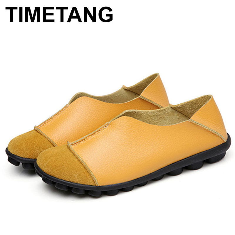 TIMETANG Genuine Leather Handmade Women's Flats 2018 Soft Slip On Women Flat Shoes Casual Woman Loafers Moccasin Plus SizeE363