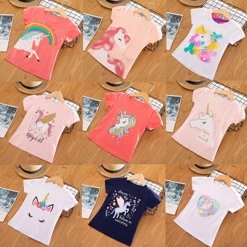 Girl T-Shirt Tops Tees Unicorn Short-Sleeve Toddler Kids Cotton Children Summer Casual