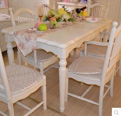 European Style Dining Table Chairs Dinner Room Furniture Carving Paint Assemble Cabinet