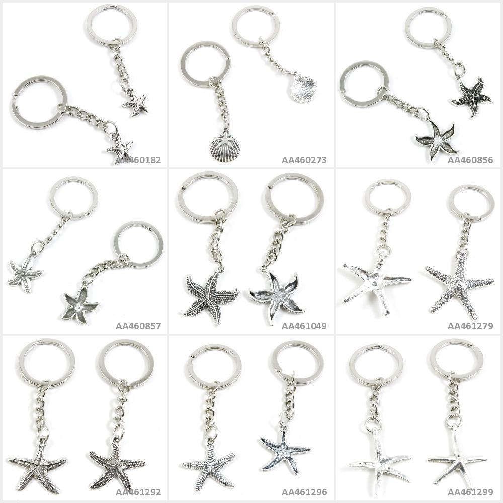 Antique Silver Tone Keychain Keyring Keytag Starfish Sea